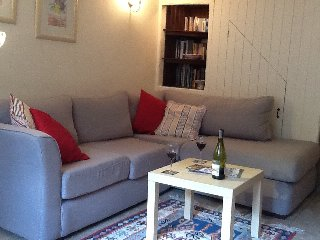 Sitting room with underfloor heating and a wood burning stove,