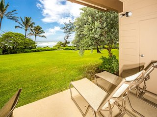 Cheery Condo Steps from the Surf! Island Style w/Lanai, Kitchen WiFi–Kaha Lani