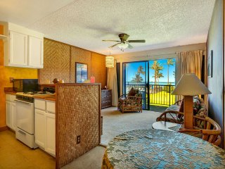 Super Coastal+Garden View! Casual w/Lanai, Kitchen, Cable TV–Molokai Shores 220