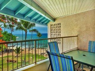 Honi's Beach View from Lanai! Casual w/AC, Kitchen, WiFi, Washer/Dryer–Kona
