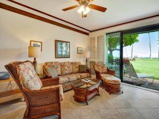 Steps from Sand! Lanai to Lawn, Kitchen Upgrade, Tile Floors–Kiahuna Plantation