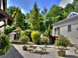 sunny courtyard with barbecue