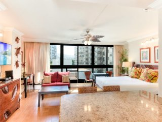 Savor style and comfort in this sweet retreat! AC, WiFi, TV–Waikiki Grand 522