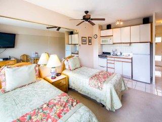 Homey Beachfront Condo w/Park View, Free WiFi, Kitchenette–Waikiki Shore 414