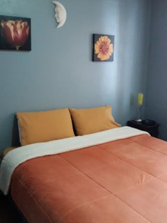 Queen bed with lots of closet space in the adjoining 2nd room.