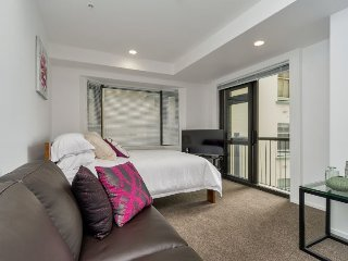 Large studio apartment in central Auckland with views of the CBD