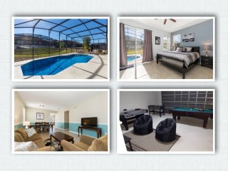 4 BDRM,GAME ROOM,2 MASTER BDRMS,2 LIV RMS.10MIN TO DISNEY. PRV POOL SUN ALL DAY