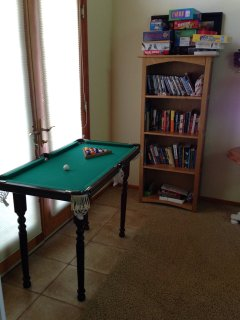 Caroms mini-pool table with lots of other games, books, and DVD movies