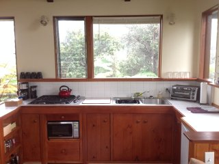 Kitchen with gas stove top, microwave, under-counter fridge, toaster oven, coffee maker & grinder.