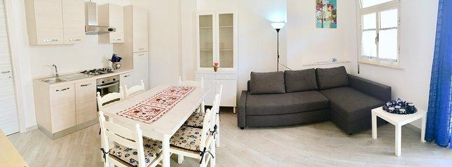 Zona living con cucina, divano letto matrimoniale, TV e zona relax