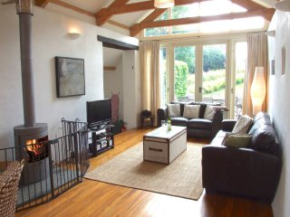 Open plan living with log burner