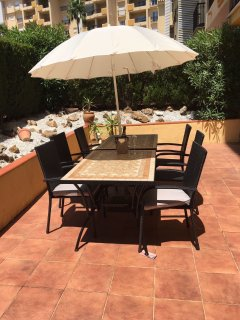 Spacious and private poolside terrace with sun all day from lunch time.