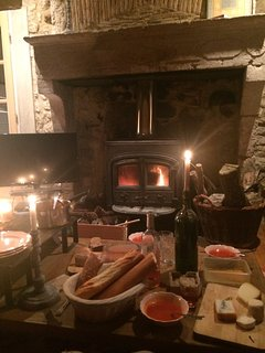 Autumn dinner by the fire