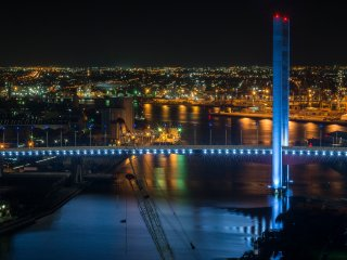 Night view of Bolte Bridge over Victoria Harbour is even better.
