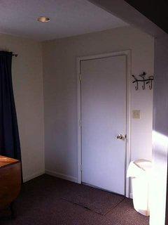 Front door with handy coat hanger