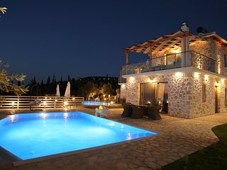 Luxury stone villa with private pool overlooking the Ionian sea