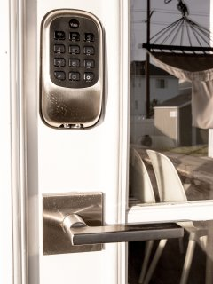 Smart door-lock. Code will be sent to you after you book so you can come and go as you please.