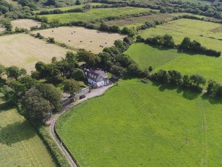 Aerial View of Rectory, Cottage, Games/Function room with farm land surrounding for total privacy