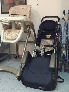 Pushchairs and highchair