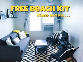 1Bedroom Apt. 1 block from the beach! Beach kit and PARKING! Save Money