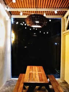Outdoor seating area during night time