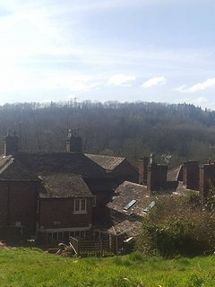 View from the top of the lawned garden. Your cottage is on the right.