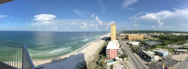 Panoramic view of beach, Pier Park & shopping.