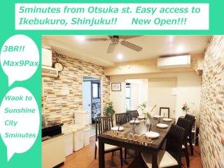 5Cozy&clean Ikebukuro City Free WIFI, EasyAccess Shinjuku,Shibuya,Ueno,Akihabara