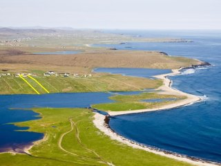The view from above - Hebridean Home outlined in yellow