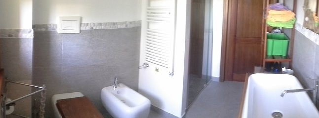 shared bathroom details : washbasin, wc, bidet, shower