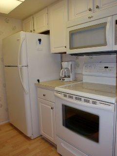 Full-sized fridge, oven & microwave.