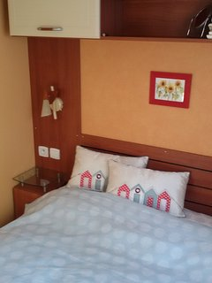 The double- bed in the master-bedroom. All rooms have double glazing, heaters if needed & extra fans