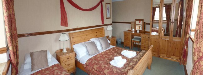 bedroom with a double and a single. en suit. with unspoiled views of Teesdale out of the window