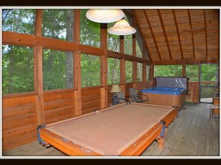 Pool table on large screened in porch.