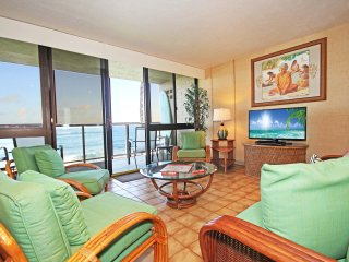 Free Mid-size car with Kuhio Shores 215-Ocean front A/C, 2 bedroom. Sleeps 6.