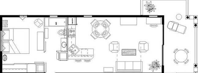 Floor plan showing the large wraparound terrace directly overlooking the beach and ocean