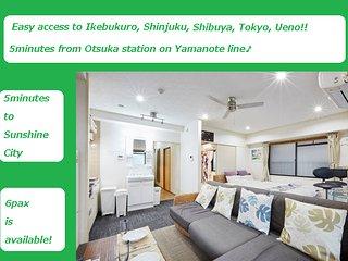 2Cozy&clean Ikebukuro City Free WIFI, EasyAccess Shinjuku,Shibuya,Ueno,Akihabara
