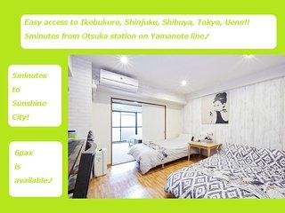 3Cozy&clean Ikebukuro City Free WIFI, EasyAccess Shinjuku,Shibuya,Ueno,Akihabara