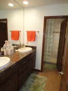 2 sinks on a granite counter in the master bath, with separate huge shower room with natural light.