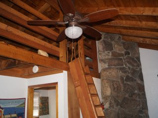 New ceiling fan, stair ladder