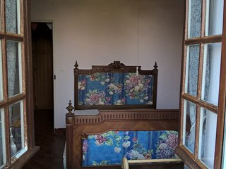 The downstairs bedroom, complete with French antique bed......but a brand new mattress!