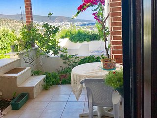 Bodrum city center 2.2km away, sea view private apartment with own garden