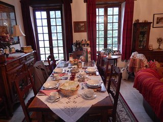 The table set ready for breakfast.