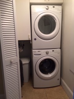 New washer and new dryer in laundry room