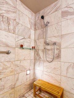 Huge marble shower to enjoy