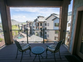 Stunning views off shared balcony steps away from the slopes