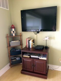 TV with Cable/DVD player and Wifi/books and games for entertainment.