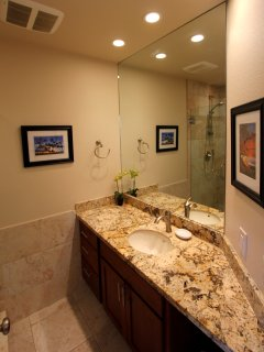 Guest bath, Granite counter & Cherry cabinets, newly remodeled July 2014