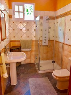 Bathroom with large shower.
