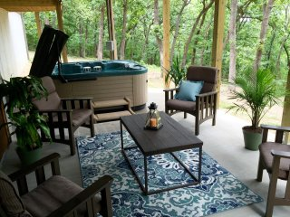 Incredible back patio with privacy views of our wooded back yard